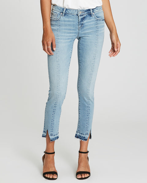Dear John Erin Straight Ankle Cropped Released Cut Out Hem Light Wash Denim
