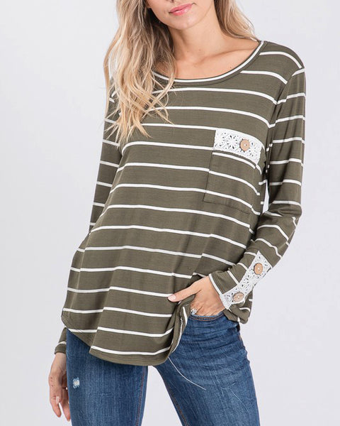 Bibi Olive Green Ivory Stripe Crochet Button Long Sleeve Tee Top Savvy Chic Boutique Cleveland Ohio