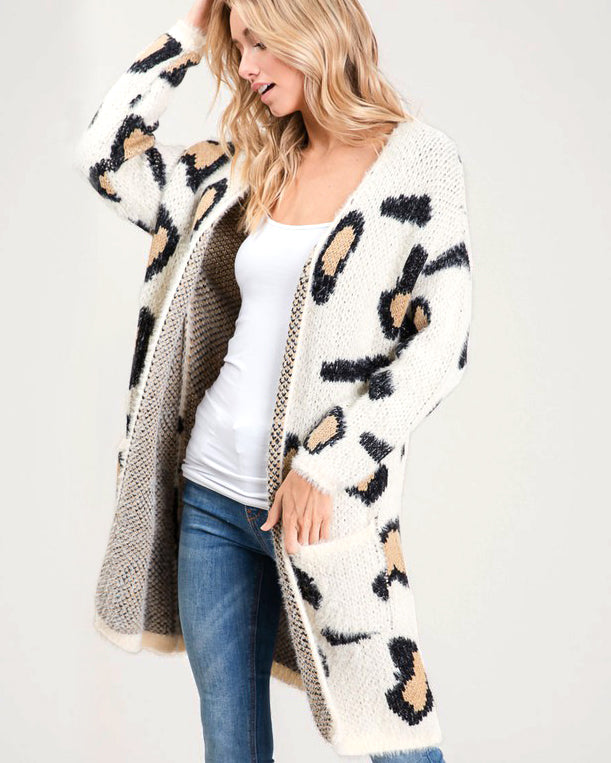 Bibi Ivory Leopard Animal Print Furry Soft Knit Sweater Open Cardigan Savvy Chic Boutique Cleveland Ohio