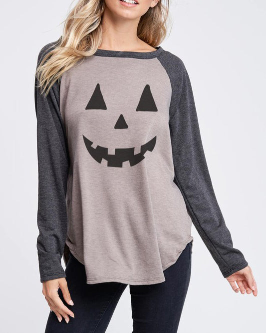 Phil Love Taupe Charcoal Grey Pumpkin Jack O' Lantern Face Halloween Graphic Long Sleeve Raglan Tee Savvy Chic Boutique Cleveland Ohio