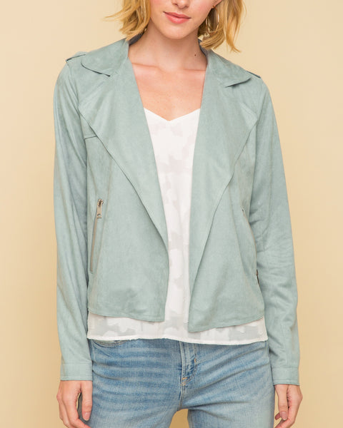 Faux Suede Mint Blue Moto Motorcycle Jacket Savvy Chic Boutique Cleveland Ohio
