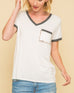 White V Neck Leopard Animal Print Pocket Short Sleeve Tee T-Shirt Top