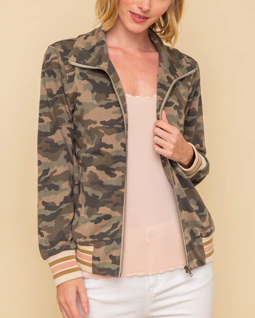 Camouflage Stripe Contrast Zip Up Jacket Savvy Chic Boutique Cleveland Ohio