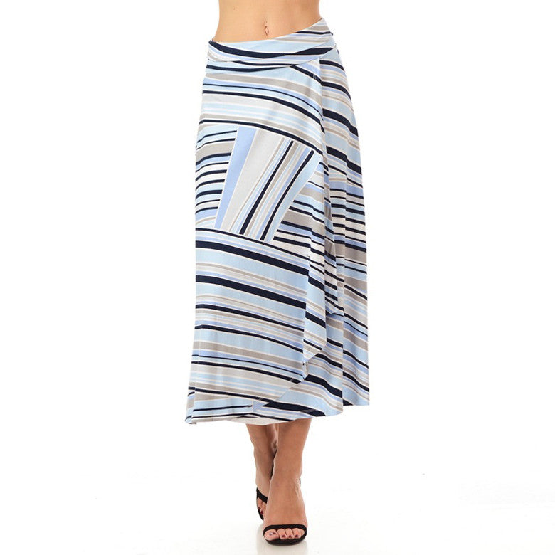 Blue Striped Wrap Midi Skirt Cubism