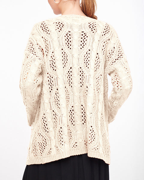 Ivory Cream Crochet Knit Sweater Open Front Pocket Cardigan Savvy Chic Boutique Cleveland Ohio