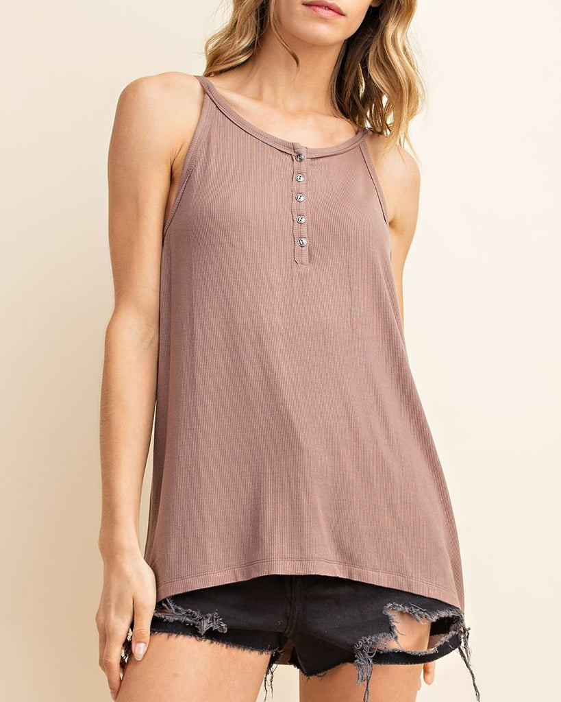 Rose Taupe Brown Ribbed Button Halter Tank Top Savvy Chic Boutique Cleveland Ohio