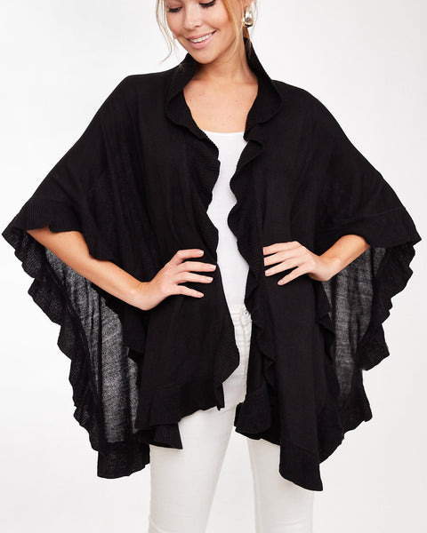 Black Ruffled Knit Wrap Poncho Cardigan Sweater Savvy Chic Boutique Cleveland Ohio