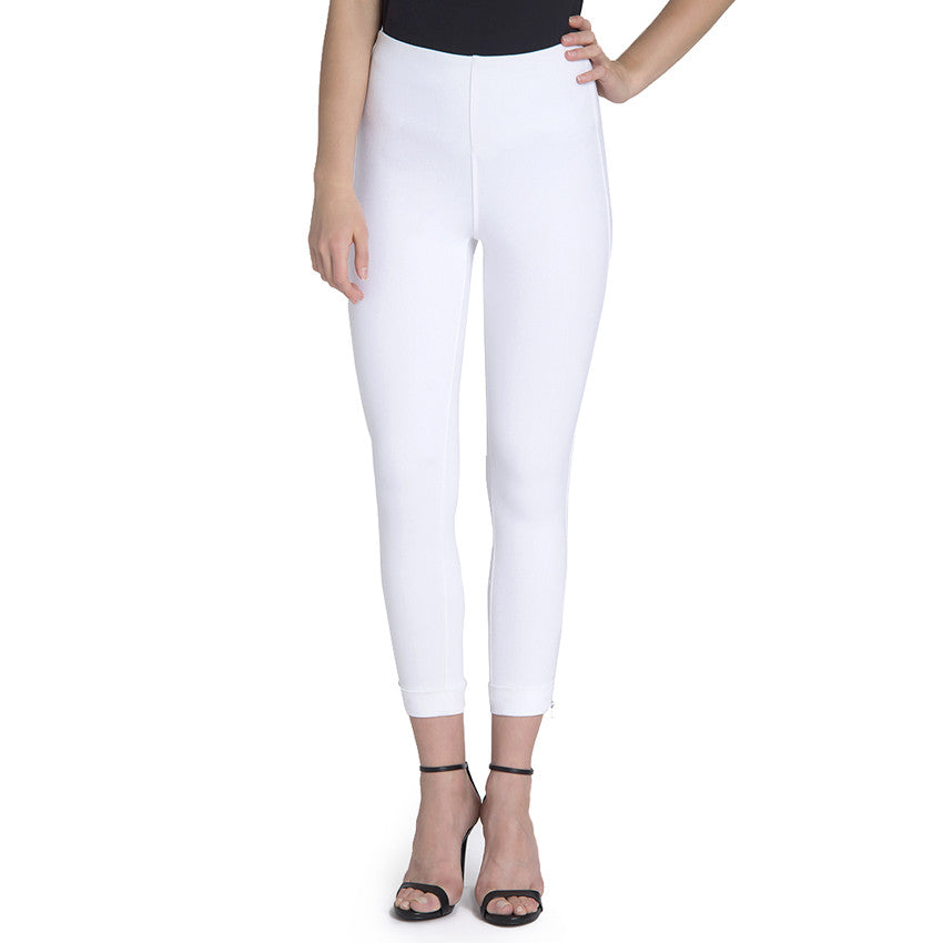 Lysse White Denim Cuffed Crop Legging