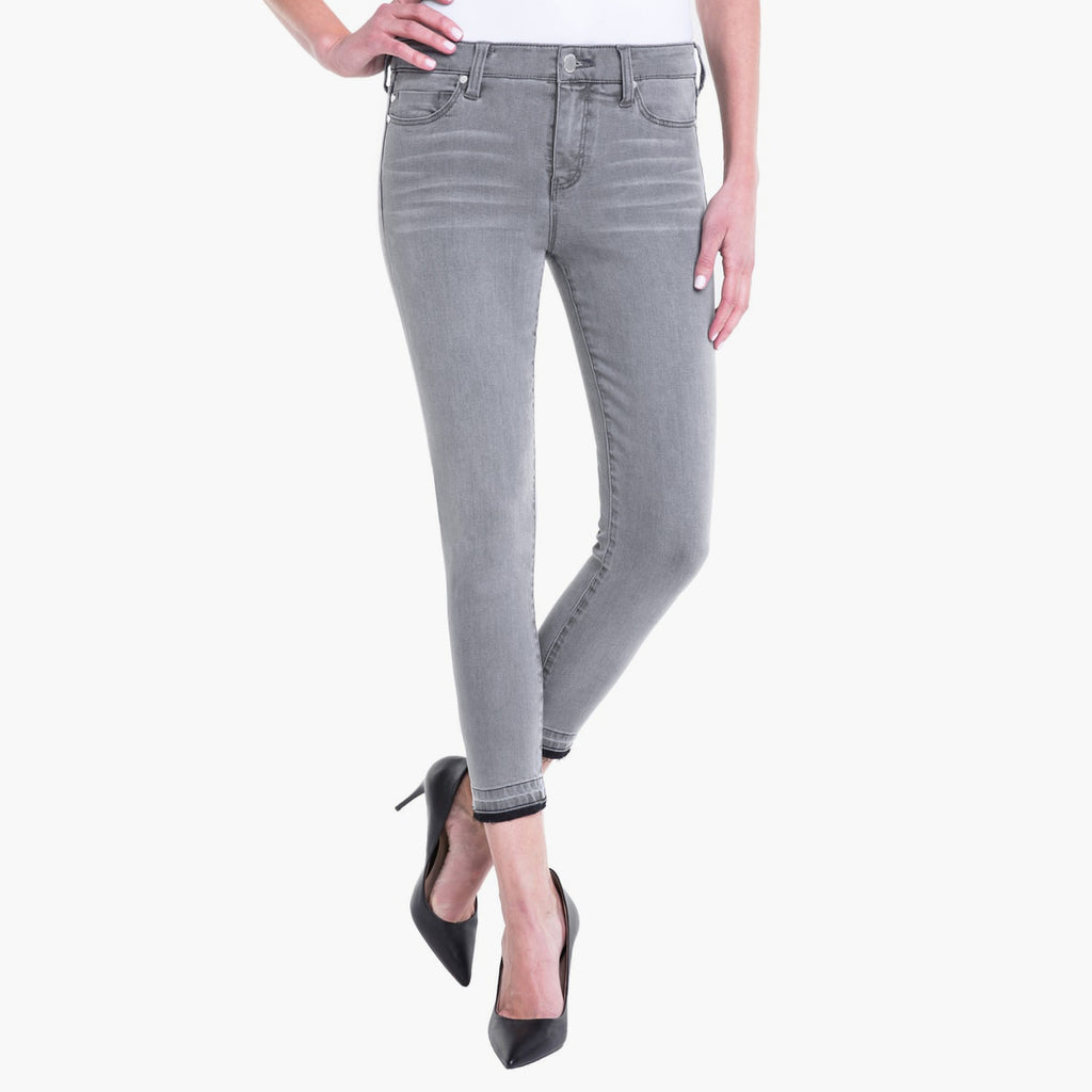 Liverpool Grey Aluminum Skinny Crop Released Hem Denim Jeans Savvy Chic Boutique Cleveland Ohio