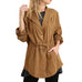 Umgee Camel Brown Button Down Front Drawstring Waist Jacket Savvy Chic Boutique Cleveland Ohio