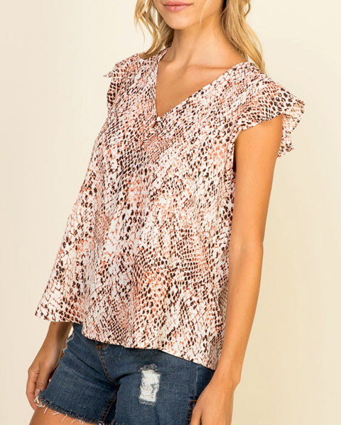 Timing Blush Pink Snake Animal Print V Neck Blouse Top Savvy Chic Boutique Cleveland Ohio