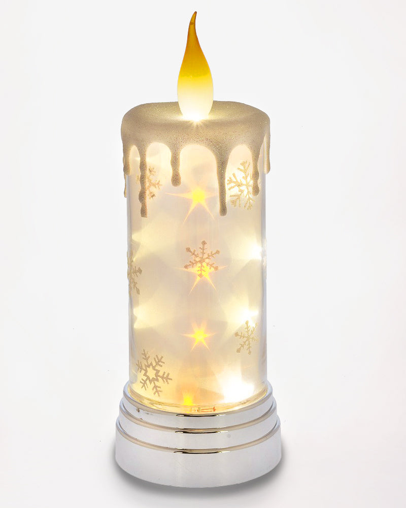 Christmas Holiday Winter Snowflake Faux Candle Light Up Decoration Gift Savvy Chic Boutique Cleveland Ohio
