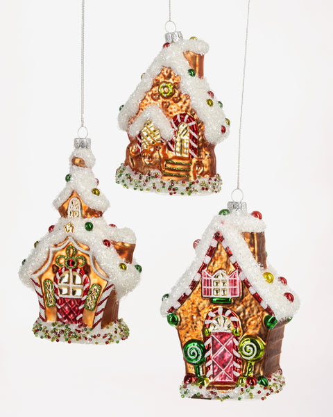Christmas Holiday Gingerbread House Glass Ornament Decoration Gift Savvy Chic Boutique Cleveland Ohio