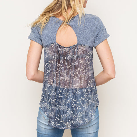 Mystree Blue Rolled Cuff Tee Shirt Twist Cutout Floral Sheer Back Top Savvy Chic Boutique Cleveland Ohio