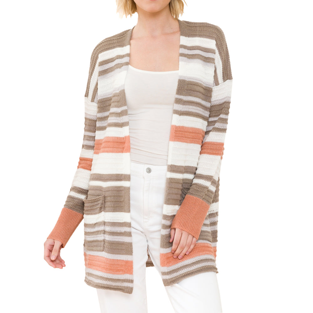 Mystree Stripe Taupe Brown Beige White Rust Knit Open Cardigan Savvy Chic Boutique Cleveland Ohio
