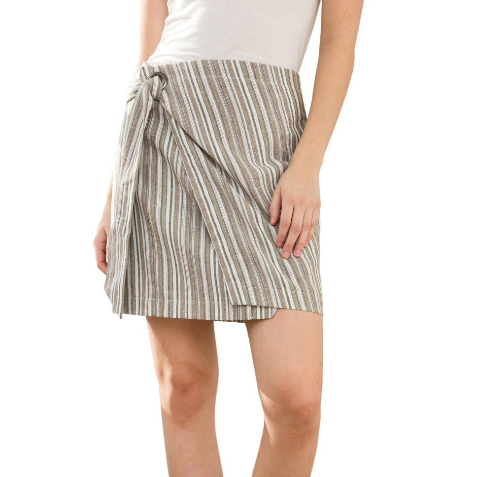 Mystree Striped Khaki Wrap Skirt Savvy Chic Boutique Cleveland Ohio