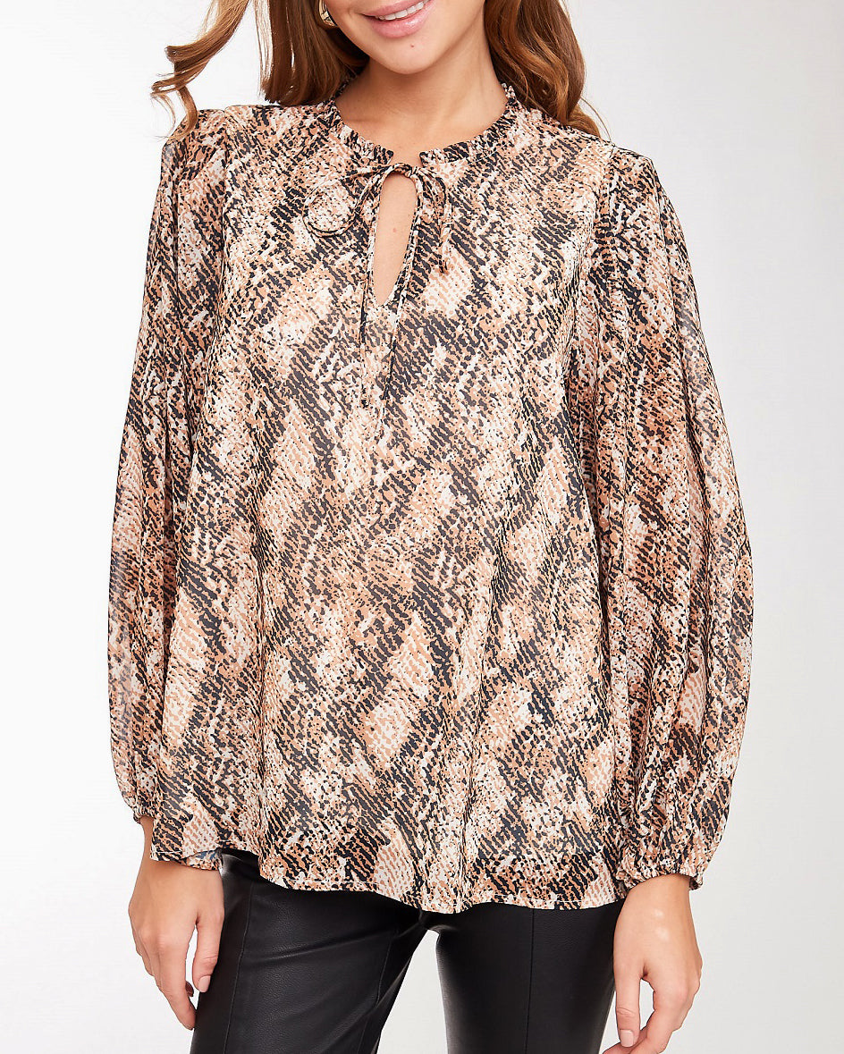 Snake Print Keyhole Tie Long Sleeve Oversized Blouse Top Savvy Chic Boutique Cleveland Ohio