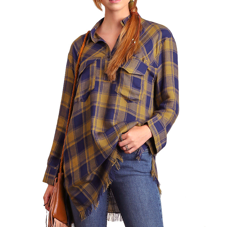 Umgee Navy Olive Green Plaid Check Print Frayed Hem Tunic Top Savvy Chic Boutique Cleveland Ohio