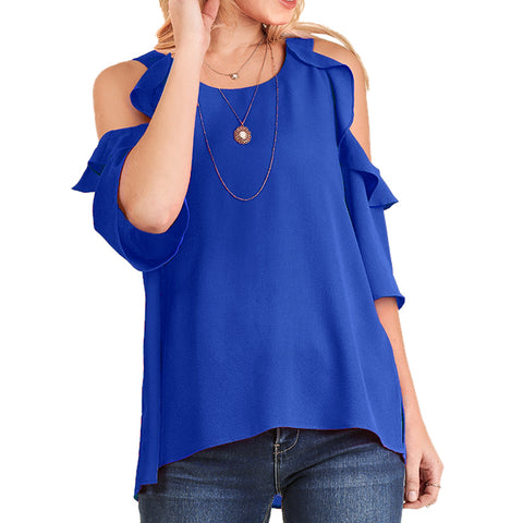 Umgee Ruffle Cold Shoulder Cobalt Electric Blue Blouse Top Savvy Chic Boutique Cleveland Ohio