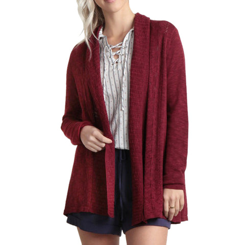 Skies Are Blue Red Burgundy Wine Knit Cardigan Sweater Savvy Chic Boutique Cleveland Ohio