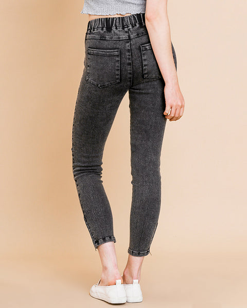 Black Mineral Acid Wash Moto Zipper Ankle Skinny Cropped Denim Leggings Savvy Chic Boutique Cleveland Ohio