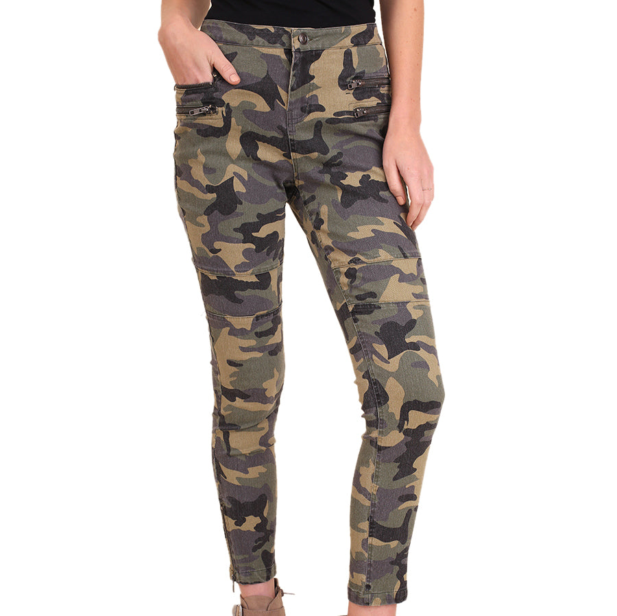 Umgee Olive Green Camo Print Skinny High Waist Moto Pants Savvy Chic Boutique Ohio