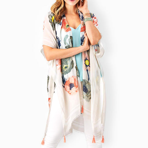 Two's Company Floral Print Kimono Wrap Shawl Cover Up Savvy Chic Boutique Cleveland Ohio