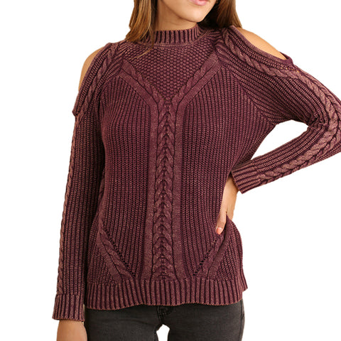 Umgee Wine Burgundy Mulberry Washed Knit Cold Shoulder Sweater Savvy Chic Boutique Cleveland Ohio