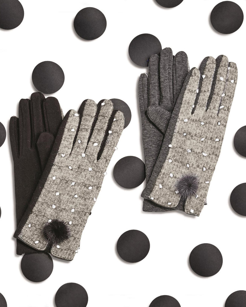 Black Grey Polka Dot Pom Pom Knit Winter Gloves Accessory Outerwear Savvy Chic Boutique Cleveland Ohio