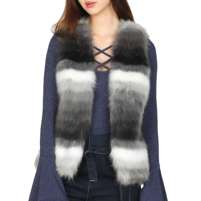 Skies Are Blue Grey White Charcoal Stripe Ombre Faux Fur Vest Savvy Chic Boutique Cleveland Ohio