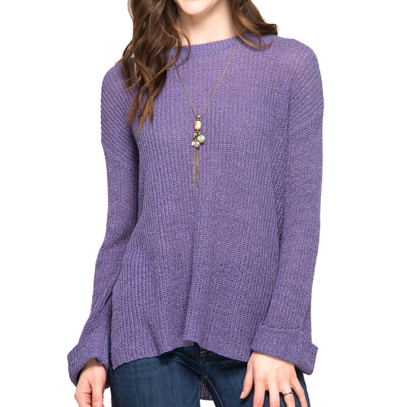 Purple Lilac Lightweight Knit Sweater Rolled Sleeves