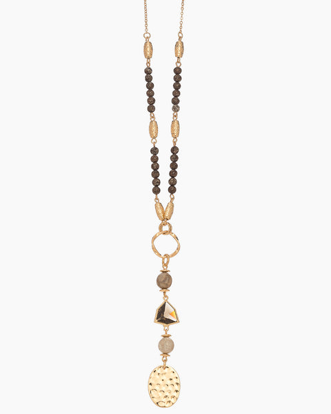Gold and Stone Long Necklace