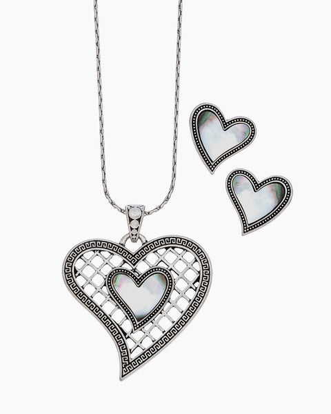 Mother of Pearl Heart Necklace & Earring Set