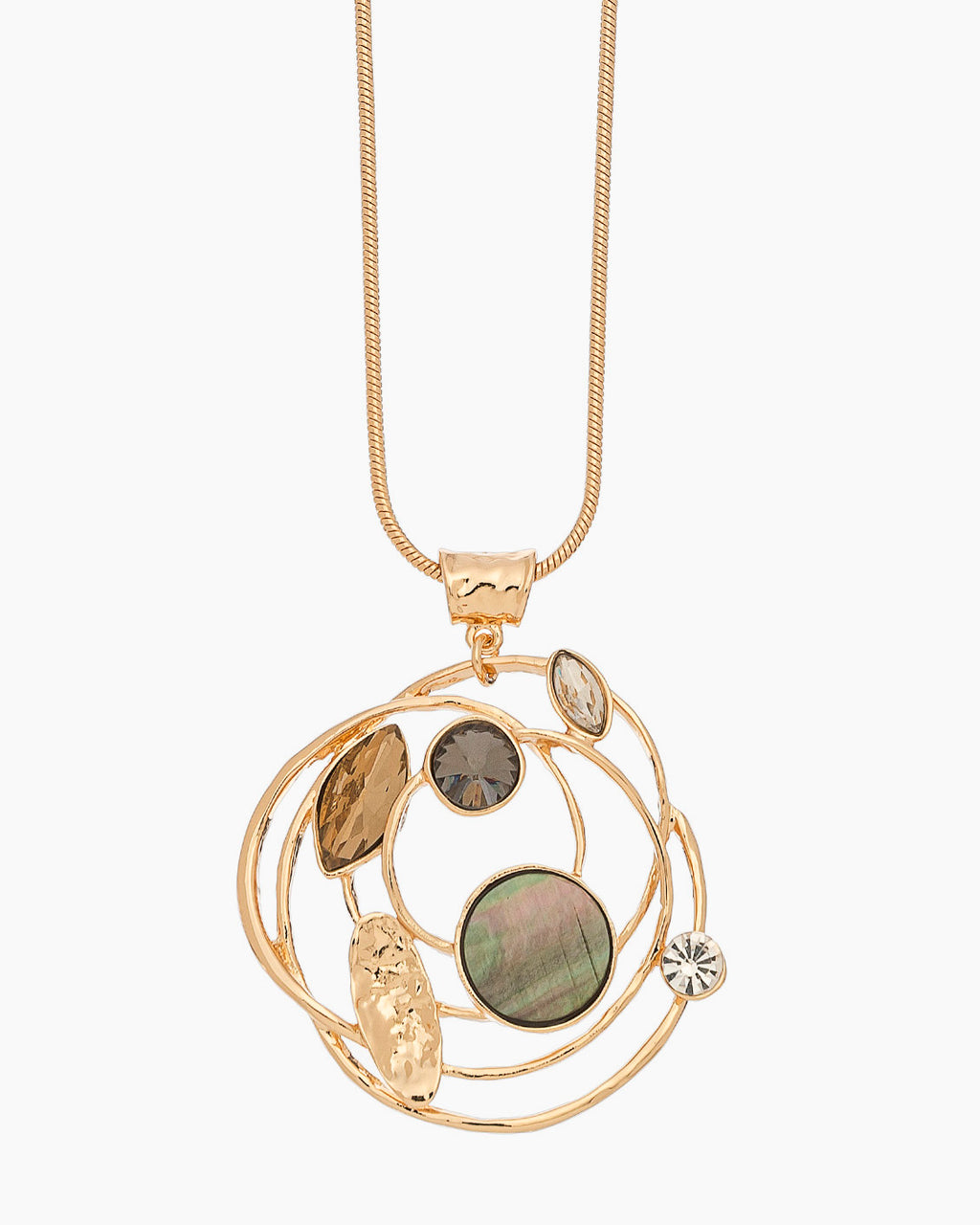 Stone Swirl Necklace - Gold