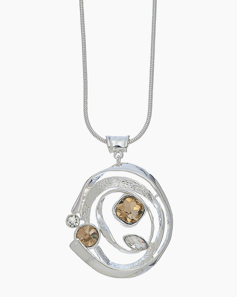 Stone Swirl Necklace - Silver