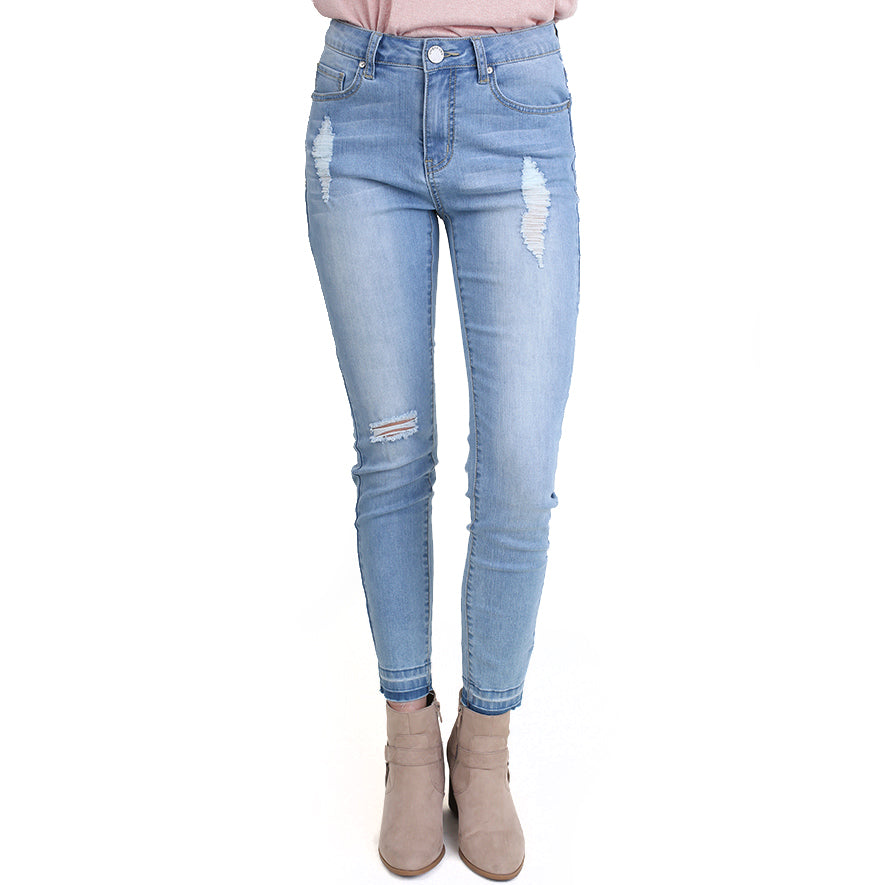 Umgee Light Wash Distressed Stretch Denim Skinny Jeans Savvy Chic Boutique Cleveland Ohio