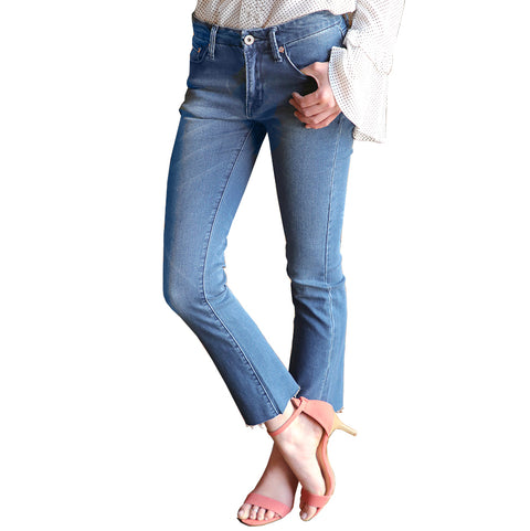 Umgee Cropped Flare Cutoff Raw Edge Medium Wash Denim Jeans Savvy Chic Boutique Ohio