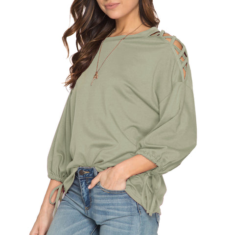 She + Sky Olive Green Lattice Shoulder Drawstring Sleeve Oversized Top Savvy Chic Boutique