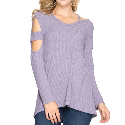She + Sky Purple Lilac Cutout Sleeve Ribbed Sweater Savvy Chic Boutique