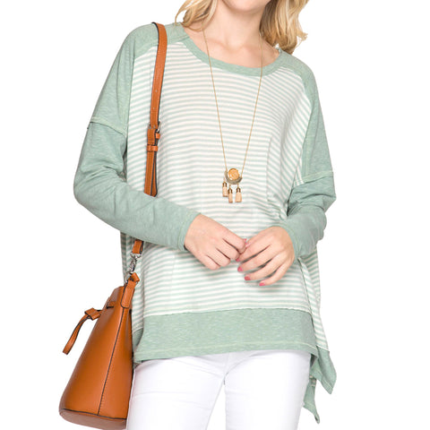 She + Sky Stripe Sage Green Long Sleeve Raw Edge Top