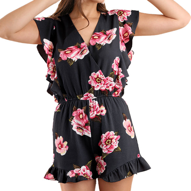 Umgee Black Pink Floral Print Ruffle Romper Savvy Chic Boutique Cleveland Ohio