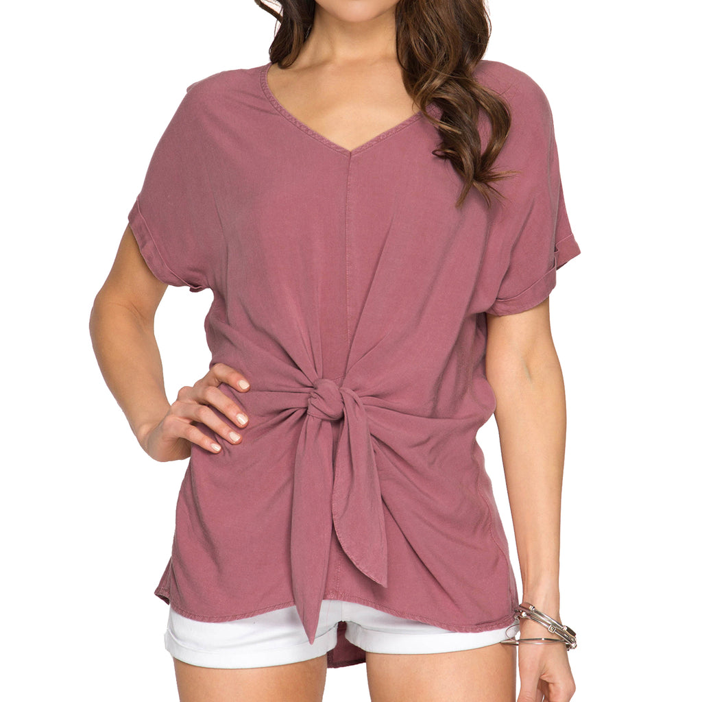 She + Sky Mauve Rose Knot Tie Front V Neck Tee T Shirt Savvy Chic Boutique Ohio