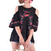 Umgee Black Floral Embroidered Cold Shoulder Puff Sleeve Crochet Top Savvy Chic Boutique Ohio