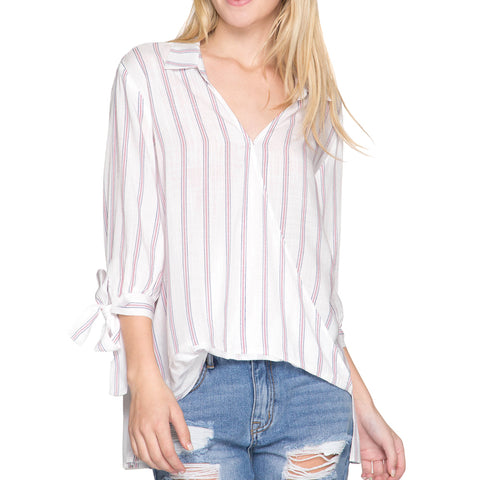 She + Sky White Pinstripe Print Tie Sleeve Blouse Top Savvy Chic Boutique