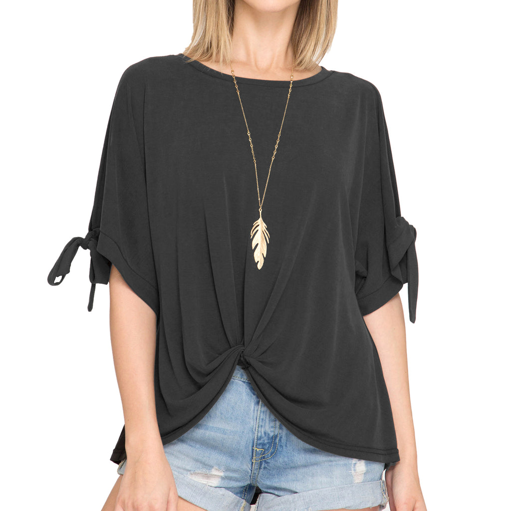 She + Sky Black Cold Shoulder Tie Sleeve Twist Front Top Savvy Chic Boutique Cleveland Ohio