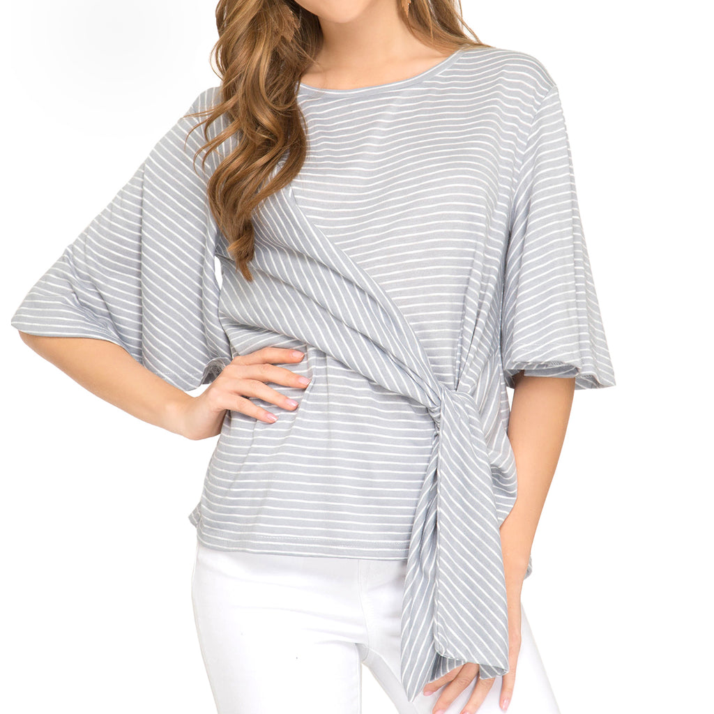She + Sky Grey White Stripe Tie Front Flutter Sleeve Top Savvy Chic Boutique Cleveland Ohio