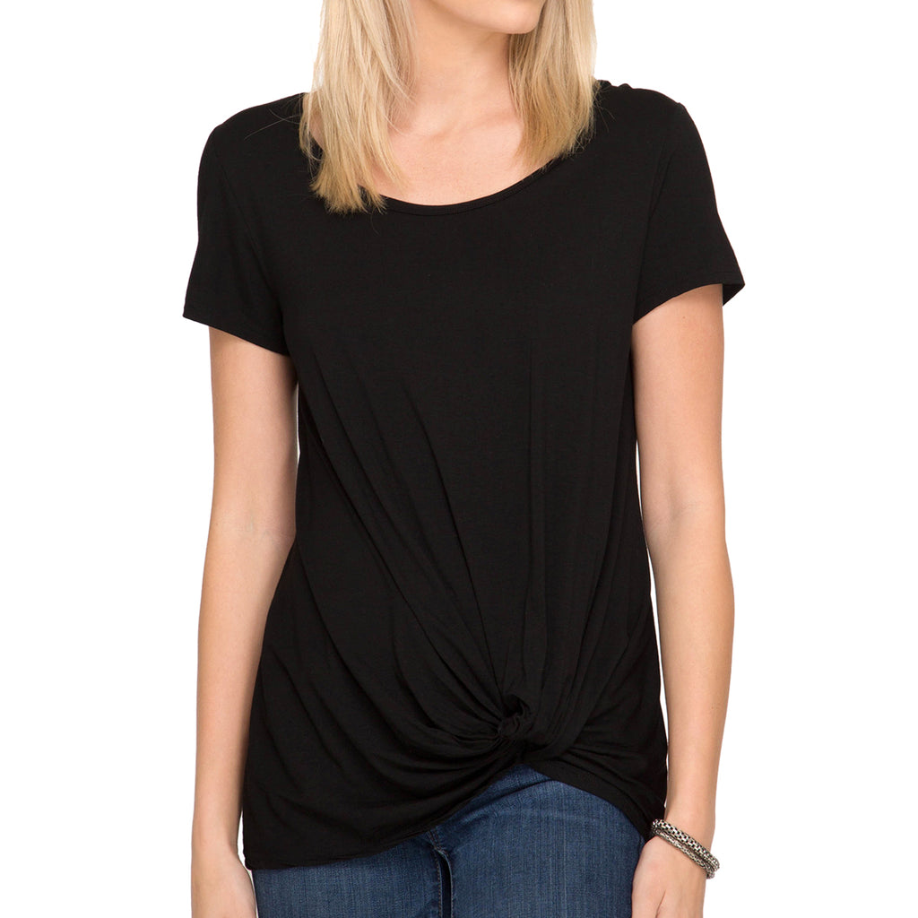 She + Sky Black Tee T Shirt Twisted Hem Savvy Chic Boutique Cleveland Ohio