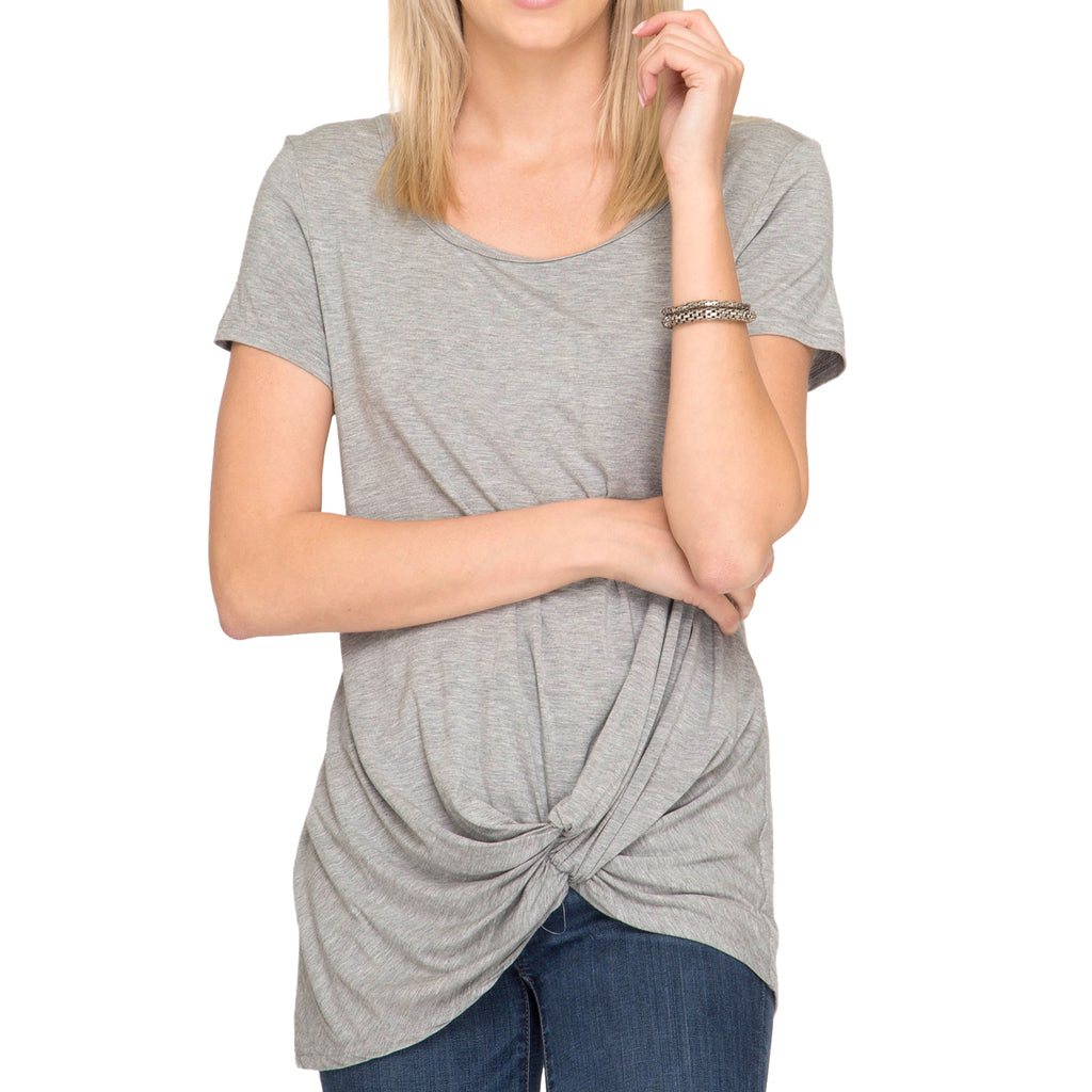 She + Sky Heather Grey Tee T Shirt Twist Hem Savvy Chic Boutique Cleveland Ohio