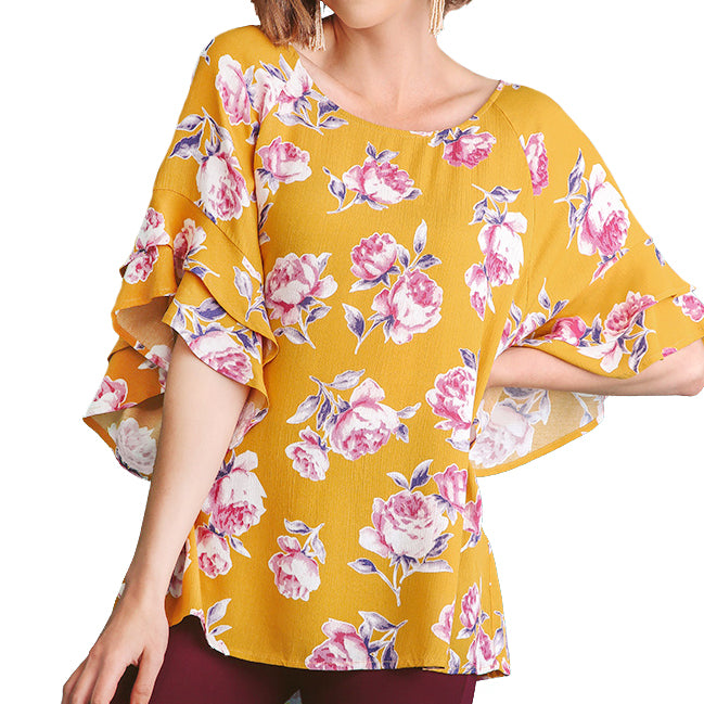 Umgee Gold Yellow Mustard Pink Floral Print Ruffle Sleeve Top Savvy Chic Boutique Cleveland Ohio