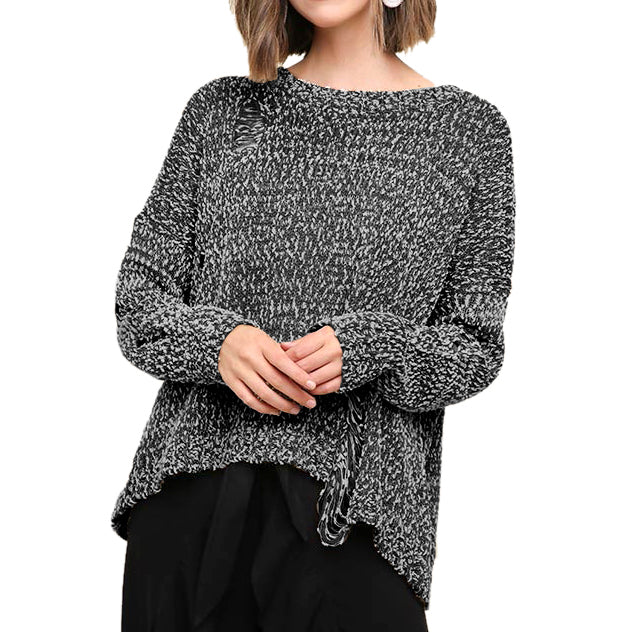 cfd558e2b20f5a Umgee Charcoal Grey Textured Knit Distressed Torn Ripped Sweater Savvy Chic  Boutique Cleveland Ohio